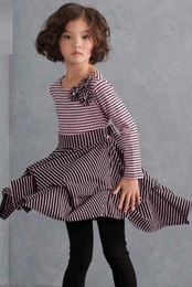 "Biscotti ""Stripe A Pose"" Adorable Pink Dress w/Cinched Hem"