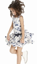"Biscotti ""True Blue"" Ivory & Blue Floral Dress"
