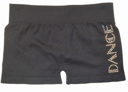 Butterflies & Zebras Rhinestone Black Boy Dance Short<br>One Size Fits 7-14