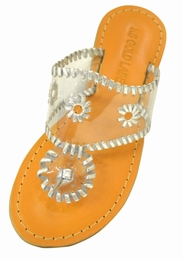 """Camelia"" Translucent Must Have Sandal w/Silver Stitching"