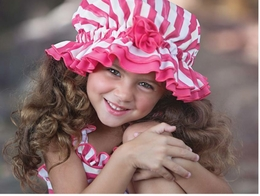 "Chichanella Bella ""Cabana Cutie"" Striped Swim Bonnet *PREORDER*<br>Sizes 12m - 4"