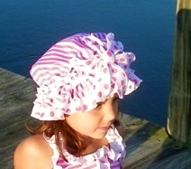 "Chichanella Bella Pink Stripe Ruffled Swim Bonnett  MTM ""Strawberry Shortcake"" and ""Beachside Beauty"" *FINAL SALE*"