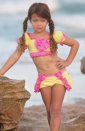 "Chichanella Bella ""Diving Daisy"" Yellow & Pink Two Piece Sassy Swimsuit<br>Sizes 2T - 10"
