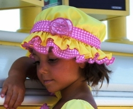 "Chichanella Bella ""Diving Daisy"" Yellow Swim Bonnet *PREORDER*<br>Sizes 2T - 10"