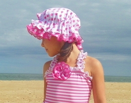 "Chichanella Bella ""Strawberry Short Cakes"" Swim Bonnet *PREORDER*<br>Sizes 2t-10"