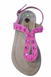 Coastal Projections Pink Linen Sandals <BR>Sizes 10 - 3