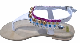 Coastal Projections White Beaded Sandals (GOING FAST!!)<BR>Sizes 10 - 3