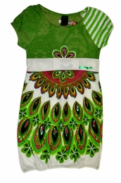 Desigual Adorable Empire Waisted Cap Sleeve Gorgeous Green Sundress<br>Sizes 5-14