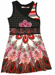 Desigual Beautiful Black Cross Over Peacock Printed Sundress<br>Sizes 5-14