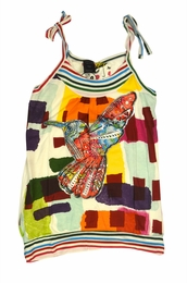Desigual Fun Mixed Print Colorful Hummingbird Tank Top<br>Going Fast! Size 11/12