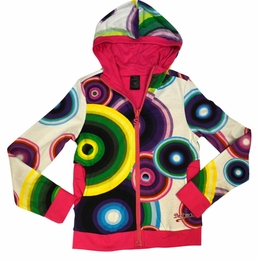 Desigual Pink and White Printed REVERSIBLE Zip Up Hoodie<br>Sizes 5 - 11/12