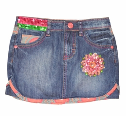 Desigual Sassy Denim Skirt w/Fun Colors<br>Size 9/10