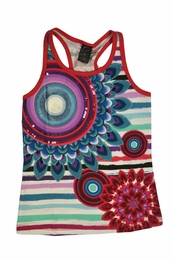 Desigual Spring Multicolor Burst Stripe Racerback Tank<br>Sizes 5-14