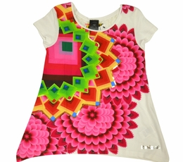 Desigual Stunning Fuscia and Rainbow Bursts Cap Sleeve A-Line Top<br>Almost Gone! Size 11/12