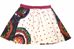 Desigual Twirling White Skirt with Fun Mixed Prints<br>Sizes 5-14