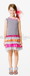 "Deux par deux ""Eye On Fashion"" Frilly Knit Sundress<br>Sizes 7 - 12"