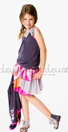 "Deux par deux ""Eye On Fashion"" Nine Iron Tank Top and Mixed Print Ruffle Skirt"