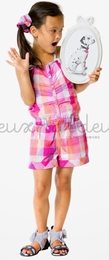 "Deux par deux ""Eye On Fashion"" Pink Plaid Shortie Romper<br>Sizes 4 - 12"