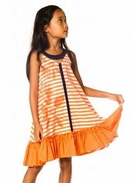 "Deux par Deux ""Jolie Daisy"" Orange Halterneck Spring Dress"