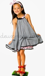 "Deux par deux ""La Cerise Sur Le Gateau"" Precious Plaid Trapeze Dress<br>Sizes 2 - 5"