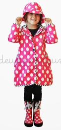 Deux par deux Pink Polka Dot Zip Rain Coat & Hat Two Piece Set<br>Sizes 2 - 8