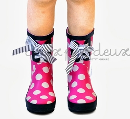 "Deux par deux Pink Dotted ""Pluies d avril"" Rainboot<br>Sizes 23 - 32 euro"