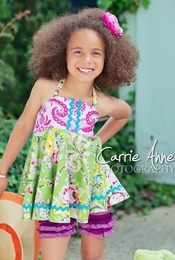 Dream Spun Green Bouquet Merry Halter & Mulberry Shorties Two Piece Set<br>Sizes 2T - 10