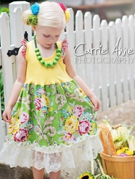 Dream Spun Grogeous Green & Yellow Bouquet Tank Dress<br>Sizes 2T - 10