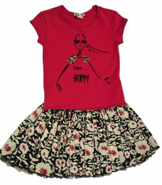 "Eliane et Lena ""Eden"" Happy Tee/""Shanona"" Floral Skirt 2 piece set"