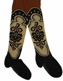 "Eliane et Lena "" Flora"" Must Have Marron Boot Patterned Tights *FINAL SALE*"