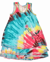"Eliane et Lena ""Giulia"" Blue Tie Dye Dress w/Floral Embroidery"