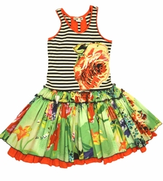 "Eliane et Lena ""Miscanthus"" Tank Style Floral & Striped Dress<br>Sizes 4 - 14"