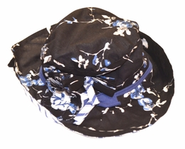 "Eliane et Lena ""Ura"" Navy and Floral Sun Hat<br>Sizes 4 - 14"