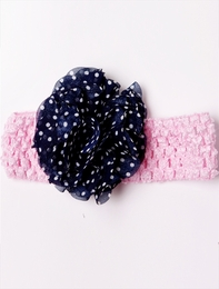 Giggle Moon Amazing Grace Pink Waffle Knit Headband w/Navy Dotted Flowerette *FINAL SALE*