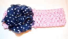 "Giggle Moon ""Amazing Grace"" Precious Pink and Navy Stretch Headband *FINAL SALE*"