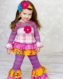 "Giggle Moon ""Golden Crown"" Berry Plaid Two Piece Swing Set<br>*PREORDER*"