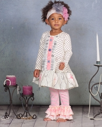 "Giggle Moon ""Graced"" Pink & Grey Mabel Dress & Legging Two Piece Set<br>*PREORDER*"
