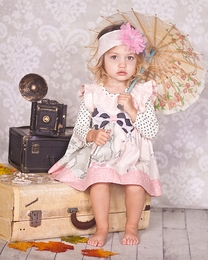 "Giggle Moon ""Graced"" Stunning Pink & Grey Lucy Dress<br>*PREORDER*"