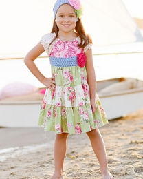 "Giggle Moon ""Green Pastures"" Beautiful Twirl Dress w/Puff Shoulders<br>Sizes 12M-8"