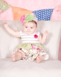 "Giggle Moon ""Green Pastures"" Precious Striped Baby Shortall<br>Sizes 3M-12M"