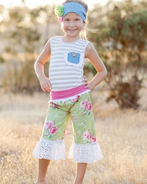 "Giggle Moon ""Green Pastures"" Suzy Two Piece Pant Set<br>Sizes 2T--8"