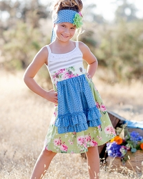 "Giggle Moon ""Green Pastures"" Tillie Apron Dress *PREORDER*<br>Sizes 2T--8"