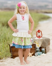 "Giggle Moon ""Green Pastures"" Two Piece Striped Connie Skirt Set<br>Sizes 2T--10"