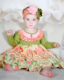 "Giggle Moon ""Harvest Fields"" Pink and Orange Party Dress"