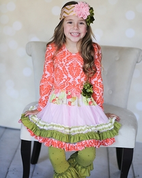 "Giggle Moon ""Harvest Fields"" Pink and Orange Tutu Dress & Legging Two Piece Set"