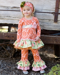 "Giggle Moon ""Harvest Fields"" Pink and Orange Two Piece Swing Set"