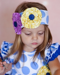 "Giggle Moon ""Heaven Sent"" Blue Dotted Soft Knit Headband"