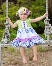 "Giggle Moon ""Heaven Sent"" Must Have Green & Blue Party Dress"