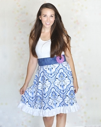 "Giggle Moon ""Heaven Sent"" Women's White & Blue Greta Dress"