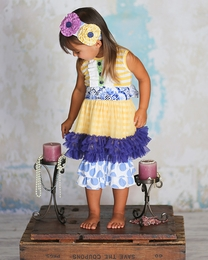 "Giggle Moon ""Heaven Sent"" Yellow & Royal Blue Tutu Dress & Dottie Capris Two Piece Set"